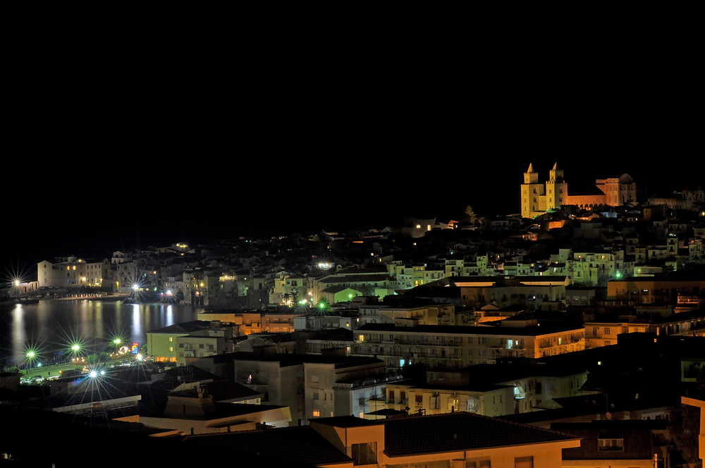 View of the city of Cefalù during the night.