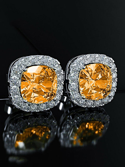 Princess Halo Cut Stud Earring With Swarovski® Crystals - Orange in