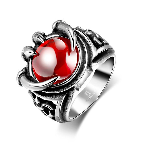 316L Stainless Steel Red Gem Crystal Claws Men's Ring