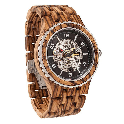 Men's Premium Self-Winding Transparent Body Zebra Wood Watches