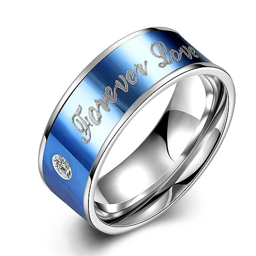 316L Stainless Steel Blue Plating Forever Love Band Ring
