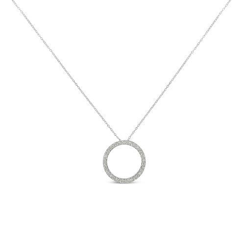 Sterling-Silver 3/4ct TDW Diamond Hoop Circle