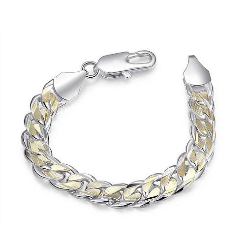 Silver & 10K Gold Figaro Bracelet