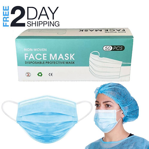 Face Mask Pack 50 PCS Disposable Earloop Masks