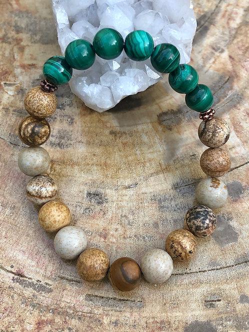 Malachite & Picture Jasper Stretch Bracelet! Genuine Stones!