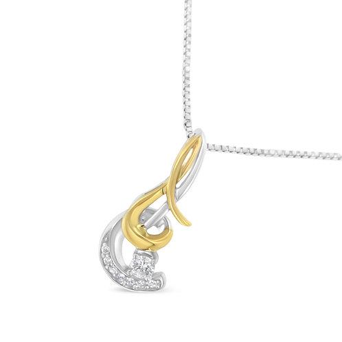 10K Two-Tone Gold 1/10 ct TDW Diamond Spiral