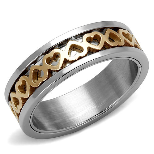 TK2398 Two-Tone IP Rose Gold Stainless Steel Ring