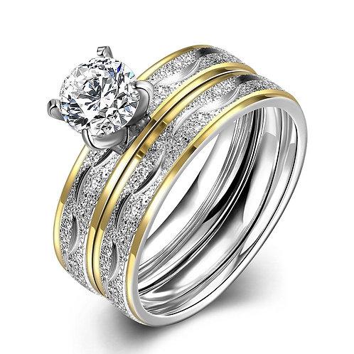 316L Stainless Steel White Princess Swarovski Goldtone Duo Rings