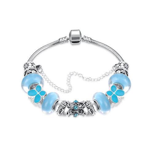 Light Blue Magnetic Clasp Bracelet in 18K White Gold Plated
