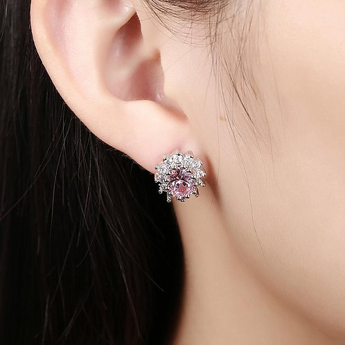 Pink Topaz Kate Middleton Inspired Stud Earring in 18K White Gold
