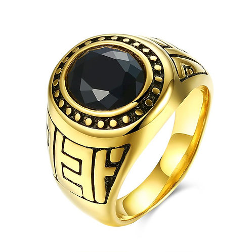 316L Stainless Steel Black Gem Jaguar Class Ring