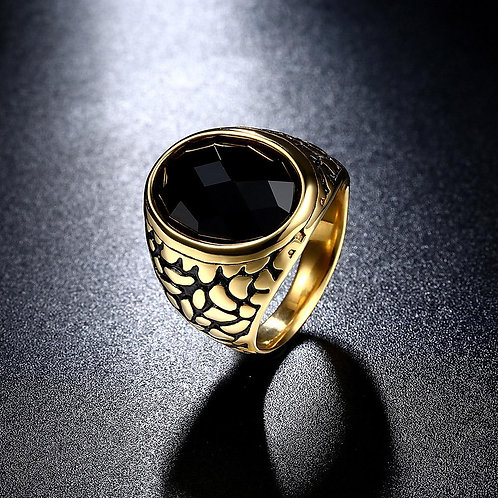 Father's Day Gift Black Crystal Leopard Signet Ring in 14K Gold