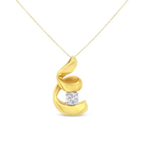 10k Yellow Gold 1/10ct TDW Round-cut Diamond