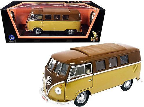 1962 Volkswagen Microbus Dark Brown and Light Brown 1/18 Diecast Model