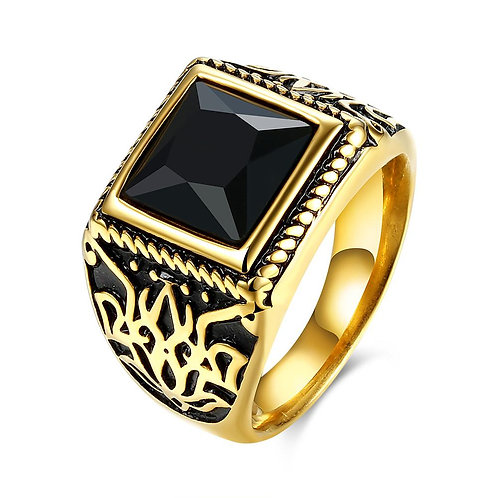 316L Stainless Steel Black Emerald Cut Goldtone Class Ring