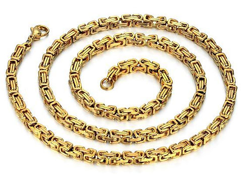 "4 MM 14k Gold Plated solid 24"" Byzantine Link"