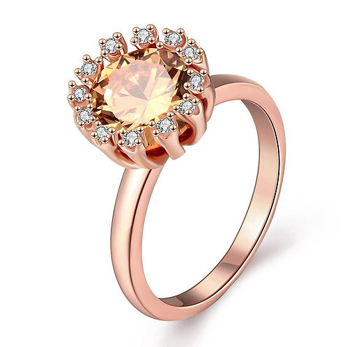 18K Rose Gold Plated Carlina Morganite Crystal Ring made with