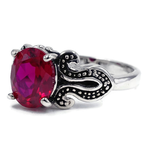 Unique Handset Oval Synthetic Ruby Black Loop Ring