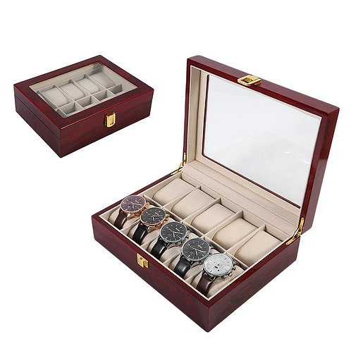 10 Grids Solid Red Wooden Watch Box Jewelry