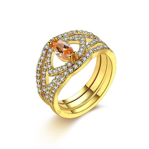 18K Gold Plated Licia Design Ring made with Swarovski Crystals