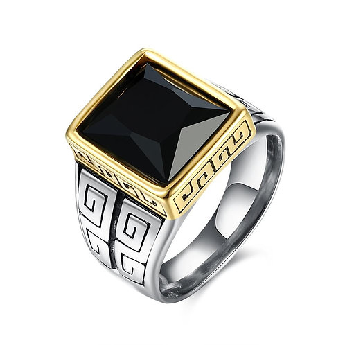 316L Stainless Steel Black Gem Square Cut Signet Ring