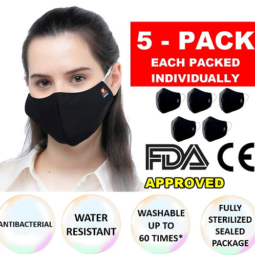 5 Pack Antibacterial 3 Layer Cloth Mask Sealed In Sterilized Bag
