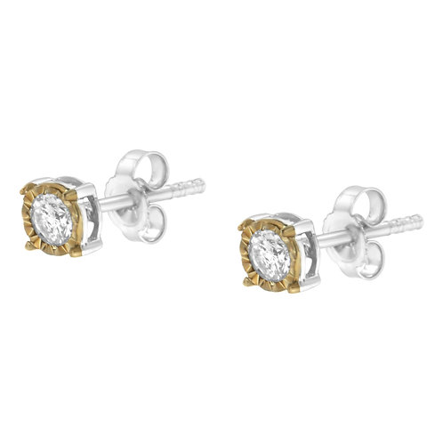 Two Toned Sterling-Silver 3/8ct TDW Diamond Stud