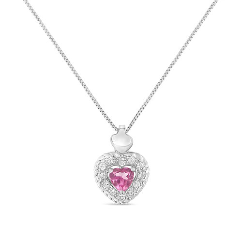 Sterling Silver 1/3ct TDW Pink Sapphire Heart and