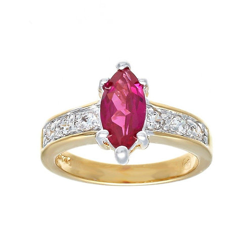 Great Two Tone Solitaire Marquise Synthetic Ruby Ring