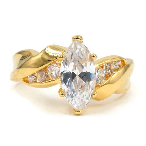 Large Marquise Solitaire Twist Graduated Channel Set Ring