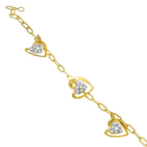 14K Yellow Gold 1/5ct TDW Round Cut Diamond Heart