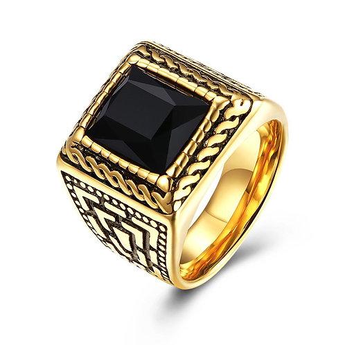 18K Gold over Stainless Steel Black Square Framed Ring