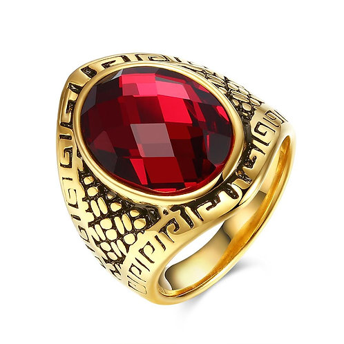 316L Stainless Steel Red Gem California Inspired Class Ring
