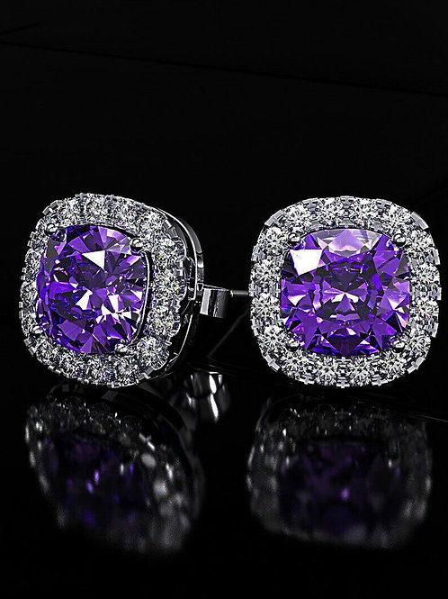 Princess Halo Cut Stud Earring With Swarovski® Crystals - Purple in