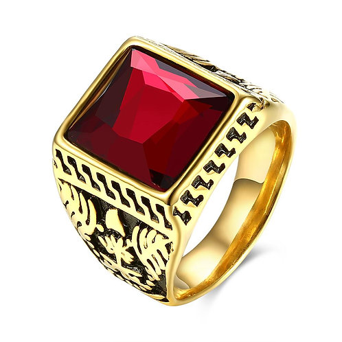 316L Stainless Steel Red Gem Square Cut Class Ring