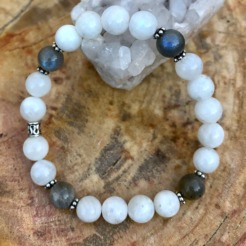 Rainbow Blue Moonstone & Blue Flash Labradorite Stretch Bracelet!