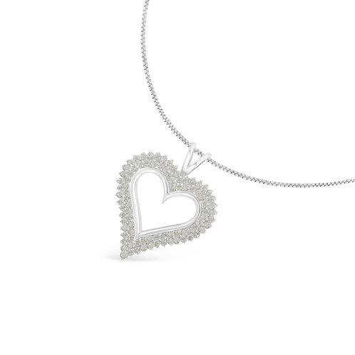 Sterling Silver 1ct TDW Diamond Heart Pendant