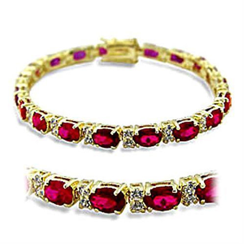 415505 Gold Brass Bracelet with Synthetic in Ruby