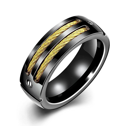 Father's Day Gift Gold Cable Intertwined Black  Stainless Steel Ring
