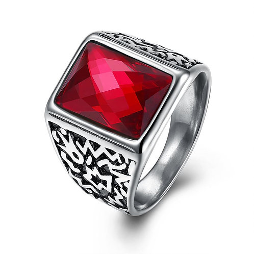 316L Stainless Steel Red Crystal Emerald Cut Signet Ring