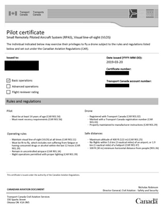 Transport Canada's rules and regulations listed on this certificate.