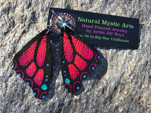 Red Butterfly Earrings, Hand Painted