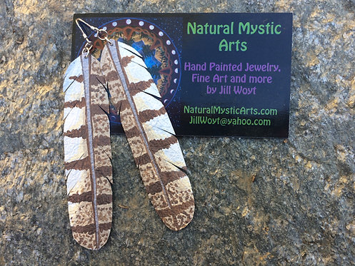 Barn Owl Feather Earrings (ONLINE ONLY)