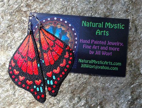 Red Heart Butterfly Earrings