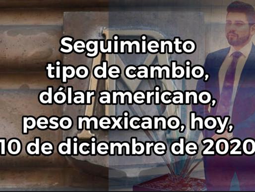 Seguimiento tipo de cambio dólar americano un peso mexicano, hoy, 10 de diciembre de 2020