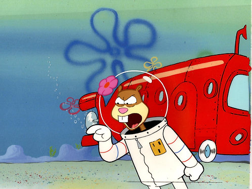 "ALL HAND PAINTED + BUS CEL ! ""THE VERY BEST""! Spongebob Prod CEL ""TEXAS"" #8159"
