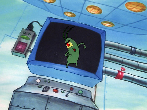 PLANKTON IN HAND Production Cel #5862
