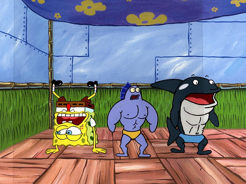 """3 GUYS HAND PAINTED PRODUCTION Cels SPONGEBOB  from """"MUSCLEBOB BUFFPANTS"""" #8234"""