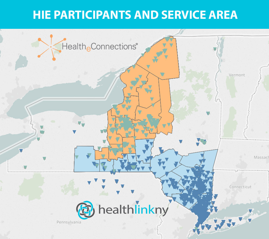 HealthlinkNY and HealtheConnections coverage map