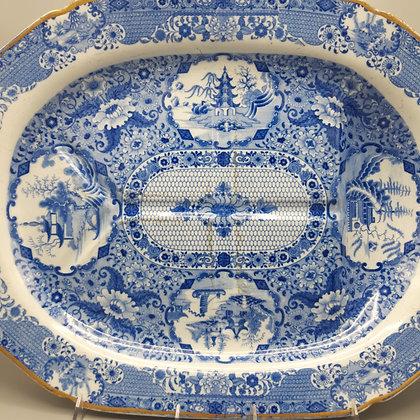 "Large 19th C. Staffordshire Transferware Platter – ""Net"" Pattern"